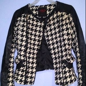 Yoki Houndstooth Faux Leather Accent Moto Small